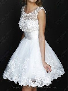 Scoop A-line Tulle Short/Mini Beading Sweet Sixteen Dresses -USD$123.49