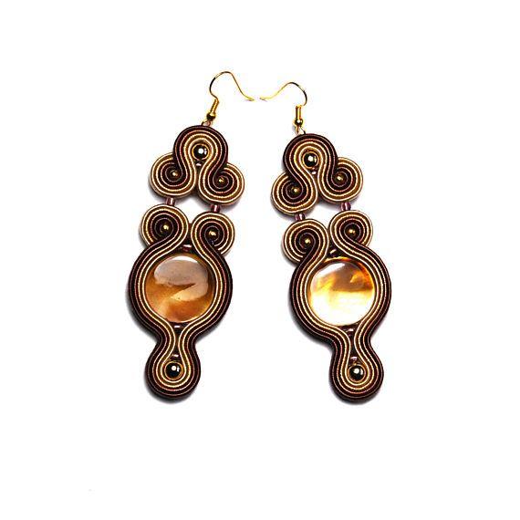 Soutache earrings brown beige gold jewelry handmade shop for