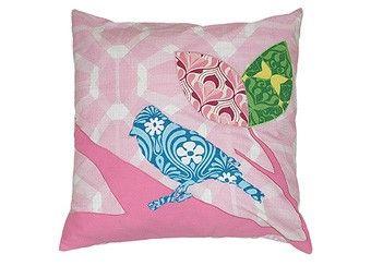 heerlijk roze kussen met vogels Taftan | kinderen-shop Kleine Zebra