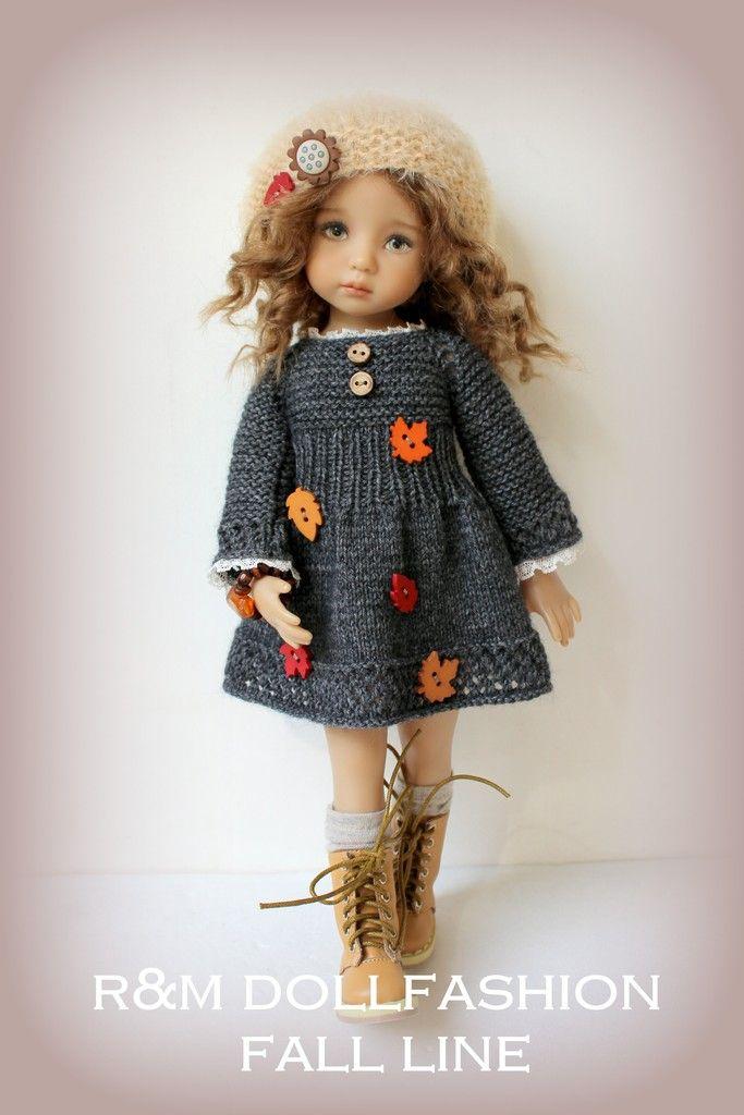 Vestido de punto para muñeca decorado con botones en forma de hoja de otoño, de dos agujeros