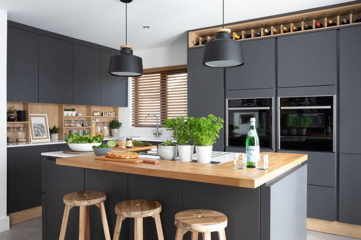 Stunning Modern Handleless Kitchen Mixing Dark Grey And Wood