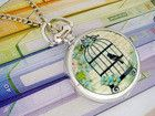 Bird Cage (Blue) Pocket Watch #bright #jewelry #necklace #pendant #pretty #silver #steampunk #vintage Make your summer! www.ceesquared.ca $14.00 Visit Today!  $5 off order over $12 CODE:  Beach