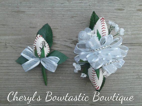 Sports Wrist Corsage and Boutonniere set. Choose your Sport and colors. Made to Order