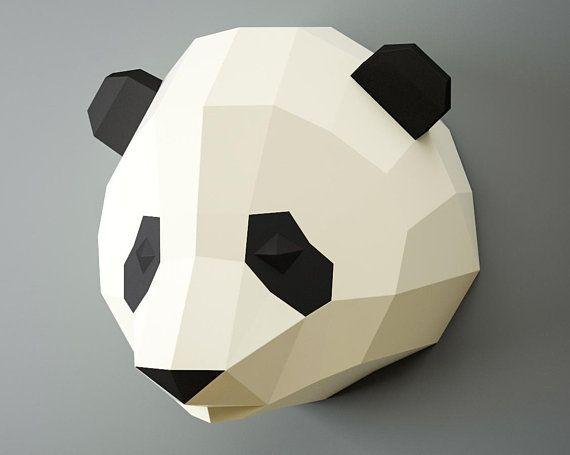 Papercraft Panda Head Paper Craft 3d Animal Trophy Diy Kit Digital