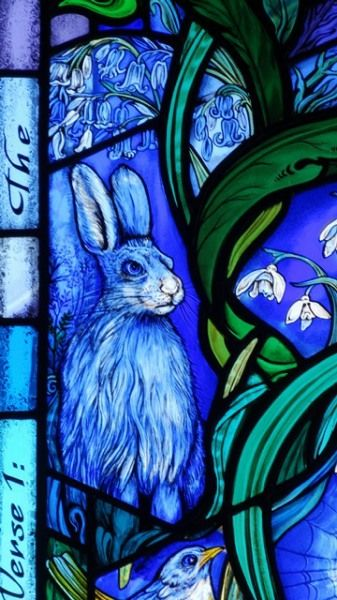Scene from a stained glass window created for All Saints Church, Denmead, Hampshire, England by Jude Tarrant