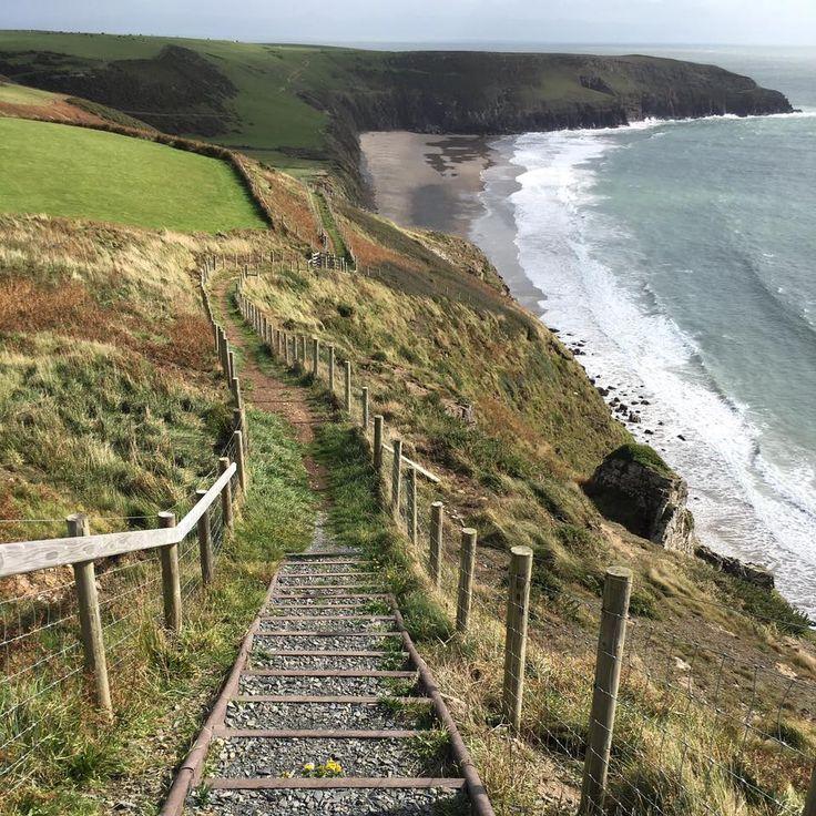 Recycled plastic steps, Porth Ceriad, Wales.