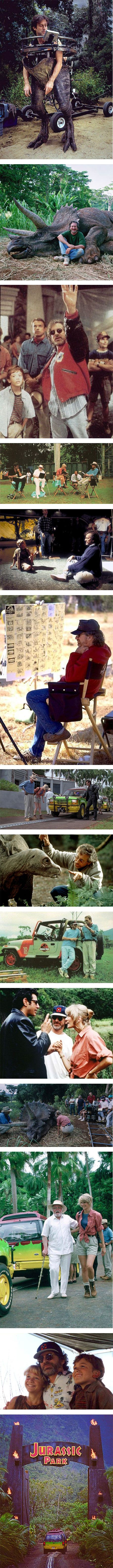 14 cool behind the scenes photos of Jurassic Park via Nuji.com