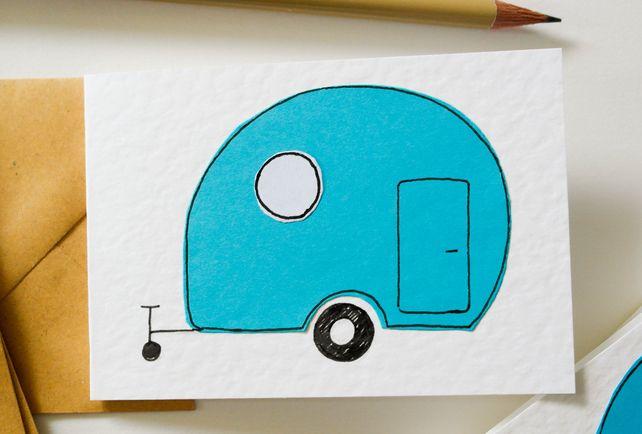Note Cards Pack of 6 - Vintage Blue Caravan Note Cards - Greeting Card 6 Pack £5.00