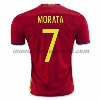 Camisetas De Futbol Barata España 2016 Morata 7 Primera Equipación