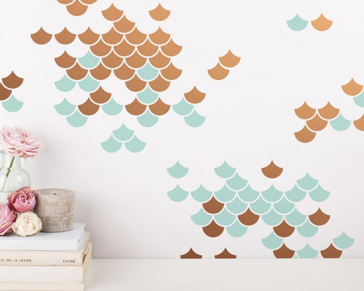 Sirena escala Wall Decals  tatuajes de pared de 2 colores