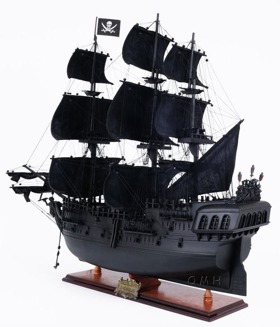 "CaptJimsCargo - Replica Black Pearl Caribbean Pirate Ship Model Wood Sailboat 35"", (http://www.captjimscargo.com/model-pirate-ships/replica-black-pearl-caribbean-pirate-ship-model-wood-sailboat-35/) This Pirate Ship model is built exactly to scale as the original replica Black Pearl used in the movie ""Pirates of the Caribbean"" was with lots of detail."