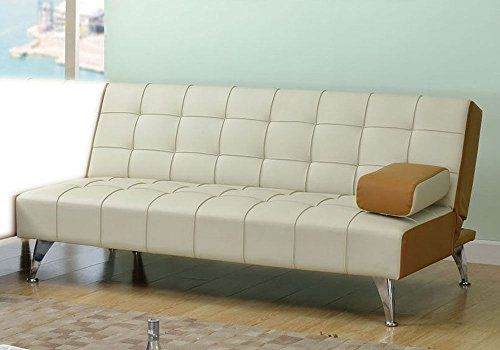 1PerfectChoice Lytton Transitional Adjustable Sofa Bed Futon Sleeper Couch in Beige  Brown PU