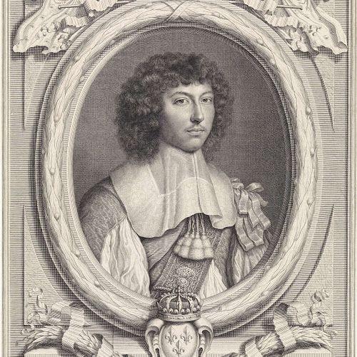 Portret van Lodewijk XIV, koning van Frankrijk, met gestrikte linten op de schouder, Pieter van Schuppen, after Wallerant Vaillant, 1660 - Rijksmuseum