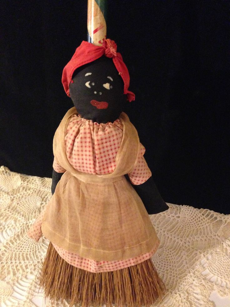 "Primitive Mammy Broom Doll ~ Folk Art Doll, Red Gingham Dress, Do Rag, Hand Painted Face, 30"" Broom, Linen Apron, Black Americana 1920s Doll by ThePokeyPoodle on Etsy"