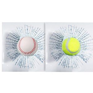 ToxTech Car Styling Ballon Autocollants, Sticker fenêtre 2Pcs drôle 3D Car Tennis Baseball Hit The Glass Creative Decal Stickers – Tennis…