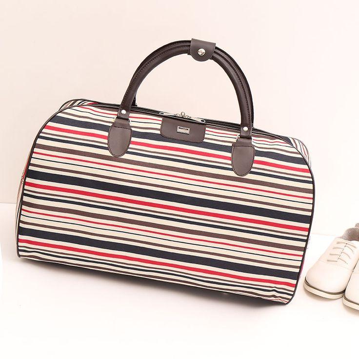 2017 New Fashion Nylon Coffee Plaid Women Luggage Travel Bags Large Bag For Women Famous Brand Female Duffle Traveling Bag