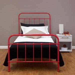 new sturdy single steel frame bed old hospital style vintage look red ebay - Steel Frame Bed