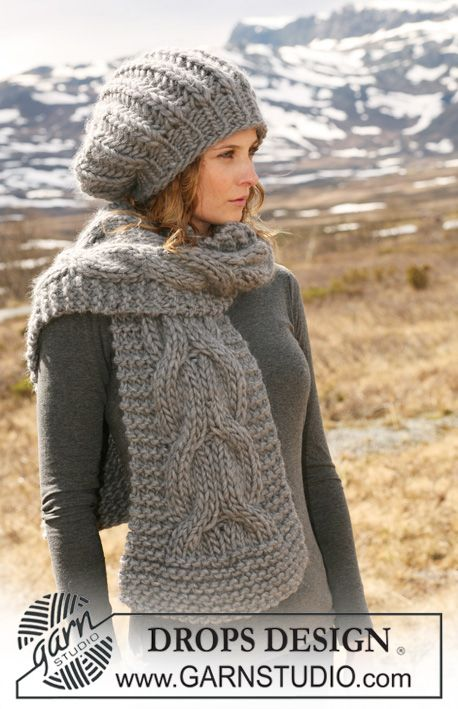 "Set comprises: Knitted DROPS hat in English rib and scarf with cables in ""Polaris"". ~ DROPS Design"