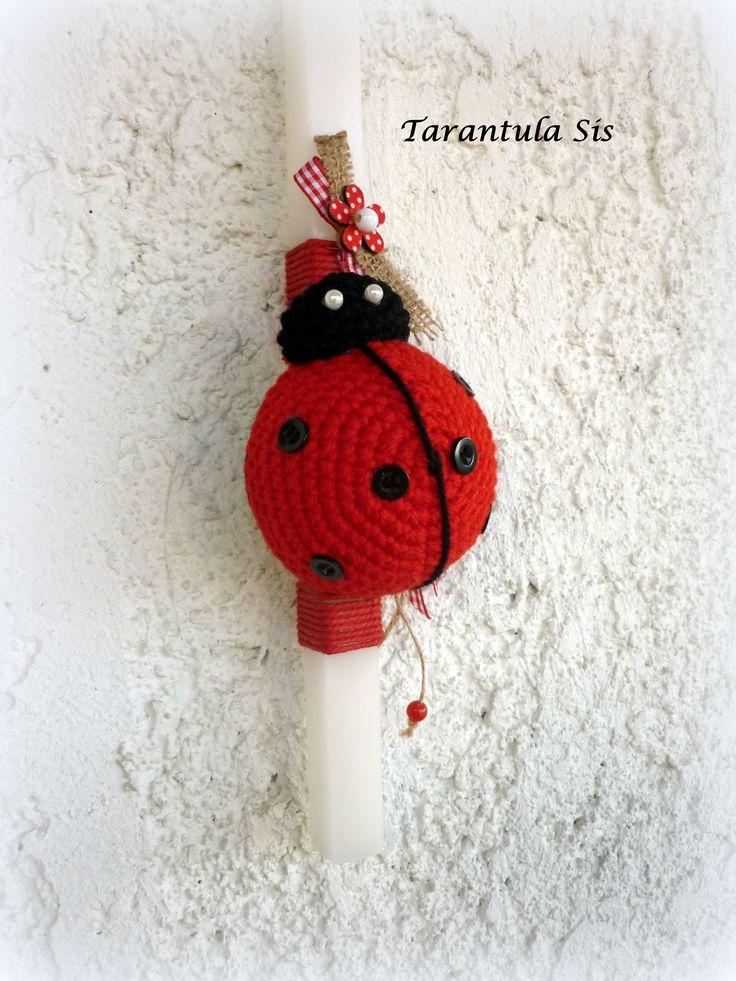 Easter candle. Crochet ladybug.
