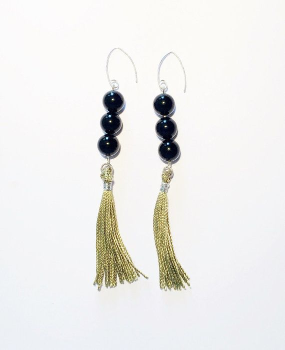 Black and green color, natural black onyx and .925 sterling silver base, tassel earrings