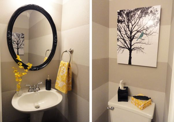 kaka, how do you feel about these colors ? Grey and Yellow Bathroom... + birds of bright colors : ) P.S. those towels are avail. @ Target right now!  Love the tree picture - c