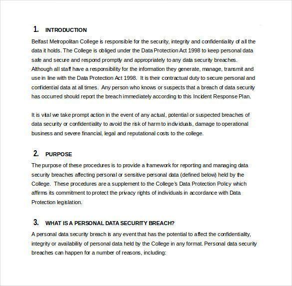 Sample Incident Response Plan Wunderschon Incident Response Plan