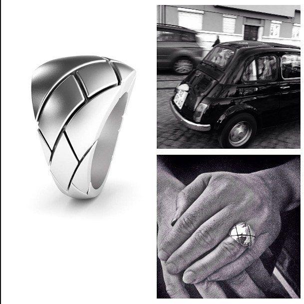 """Käpy"" ring and Fiat500. #silver #vesanilsson #sormus #finnishdesign #ring #madeinhelsinki #jewelry #designdistricthelsinki"