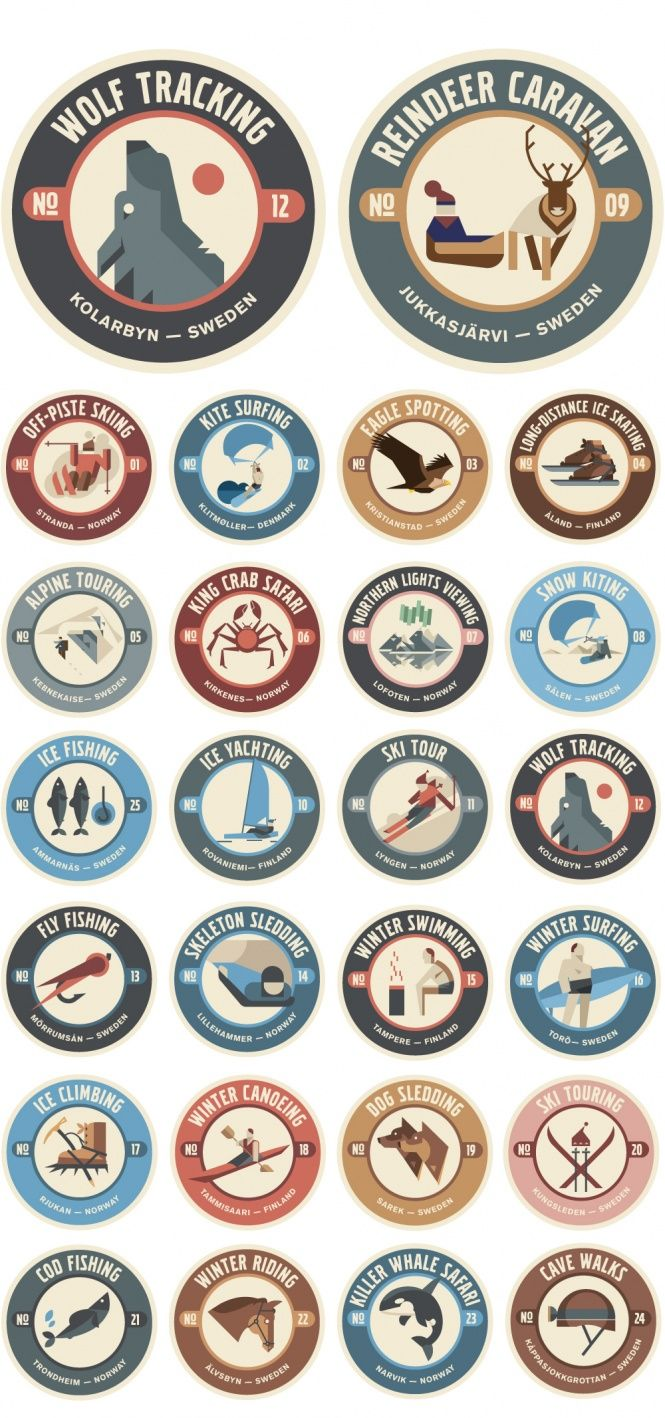 Scandinavian adventure badges! Volvo Cross Country Travels. Illustrations by Anton Eriksson, directed by Jakob Nylund. (North Kingdom with Forsman  Bodenfors for Volvo.)