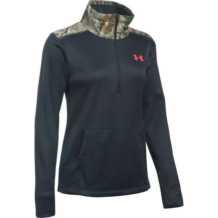 Under Armour Women's 1/2 Zip Caliber Black Jacket Front View