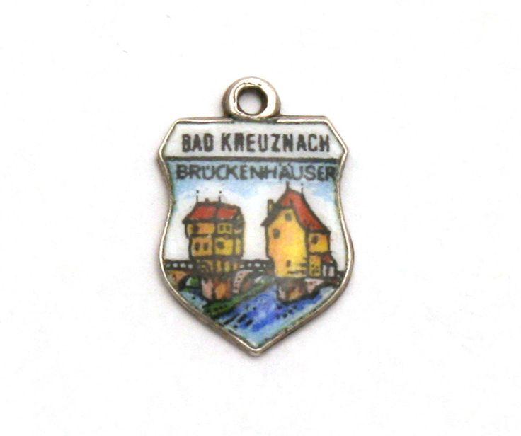 Bad Kreuznach Germany Enamel Travel Shield 800 Silver Bracelet Charm Bruckenhauser by SterlingRevival on Etsy