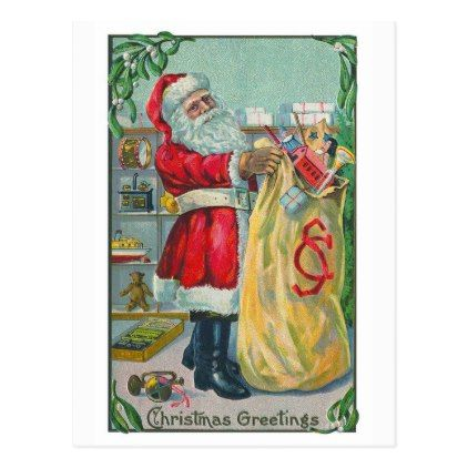 #Vintage Christmas Victorian Santa Claus with Toys Postcard - #Xmas #ChristmasEve Christmas Eve #Christmas #merry #xmas #family #kids #gifts #holidays #Santa