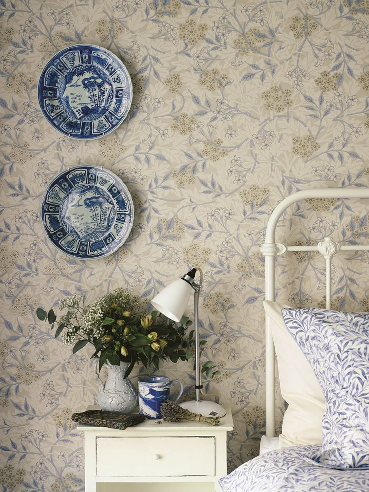 Designed in 1872 by William Morris, this intricate #wallpaper pattern has a hawthorn floral overlaid with a delicate Jasmine trail.