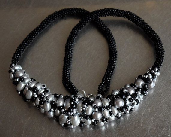 Silver pearls and black sand beads peyote necklace