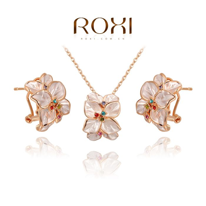 ROXI Christmas gift fashion crystal flowers set,Gift to girlfriend 100% hand made,fashion jewelry earrings+necklace,2070022780S