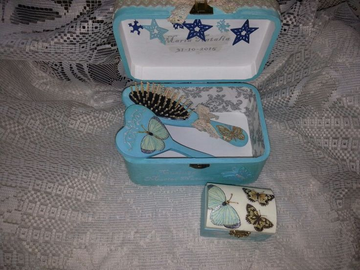 Blue butterflies stars mirror comb and boxes