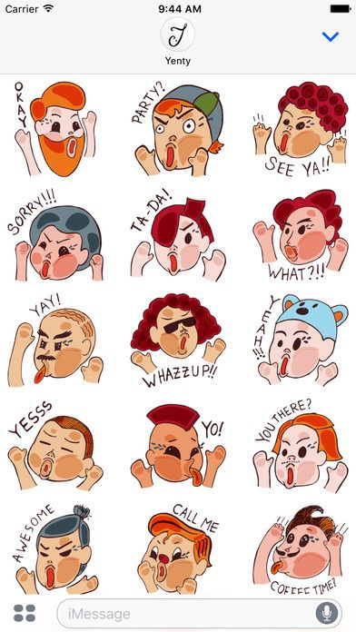 Face Time Up Close Stickers by Yenty Jap