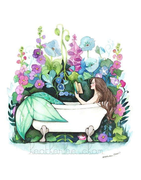 A mermaid in an antique bathtub reading a novel. She is surrounded by a lovely garden of flowers. Painted with watercolors in blue, purple, and