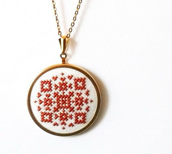 Hand embroidered jewelry amber geometrical ornament on by skrynka, $20.00