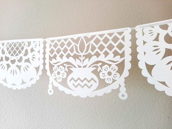 paper cut FLOWER garland picado style bounting party banner