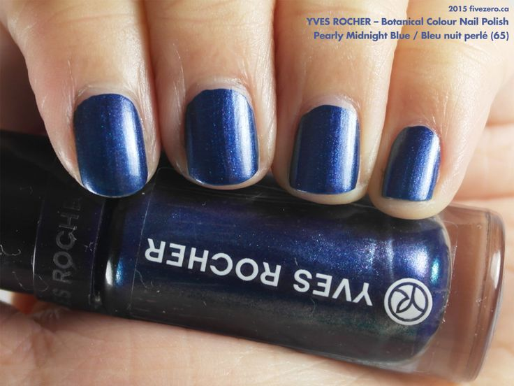Yves Rocher Botanical Colour Nail Polish in Pearly Midnight Blue / Bleu nuit perlé (swatch by fivezero.ca) [blue, metallic]