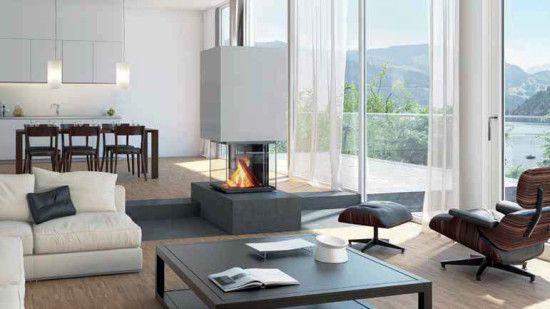 Sala moderna con chimenea.