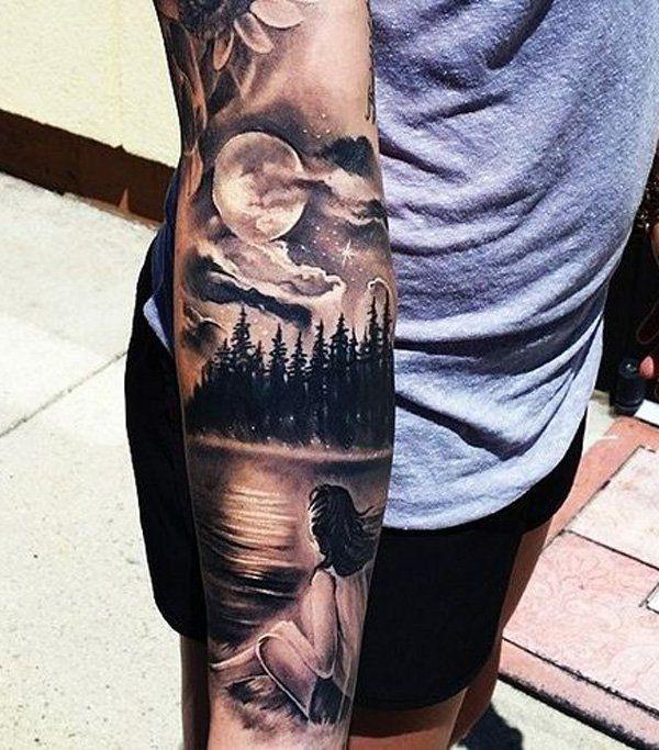 45 inspirierende Wald Tattoo-Ideen