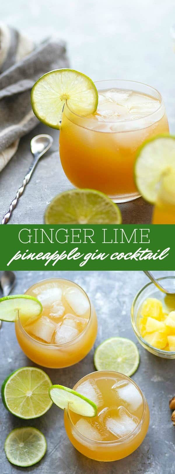 Ginger Lime Pineapple Gin Cocktail Recipe In 2021 Gin Cocktails Cocktail Recipes Easy Sweet And Spicy