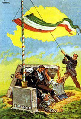 Kingdom of Hungary, irredentist anti-Treaty of Trianon (1920) poster. Artist: Burián Attila. Yellow map outline shows pre-1920 borders.