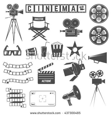Set of cinema icons. Directors chair, cinema cameras, 3d goggles, tickets, film strip. Design elements for poster, logo, label, emblem, sign. Vector illustration.