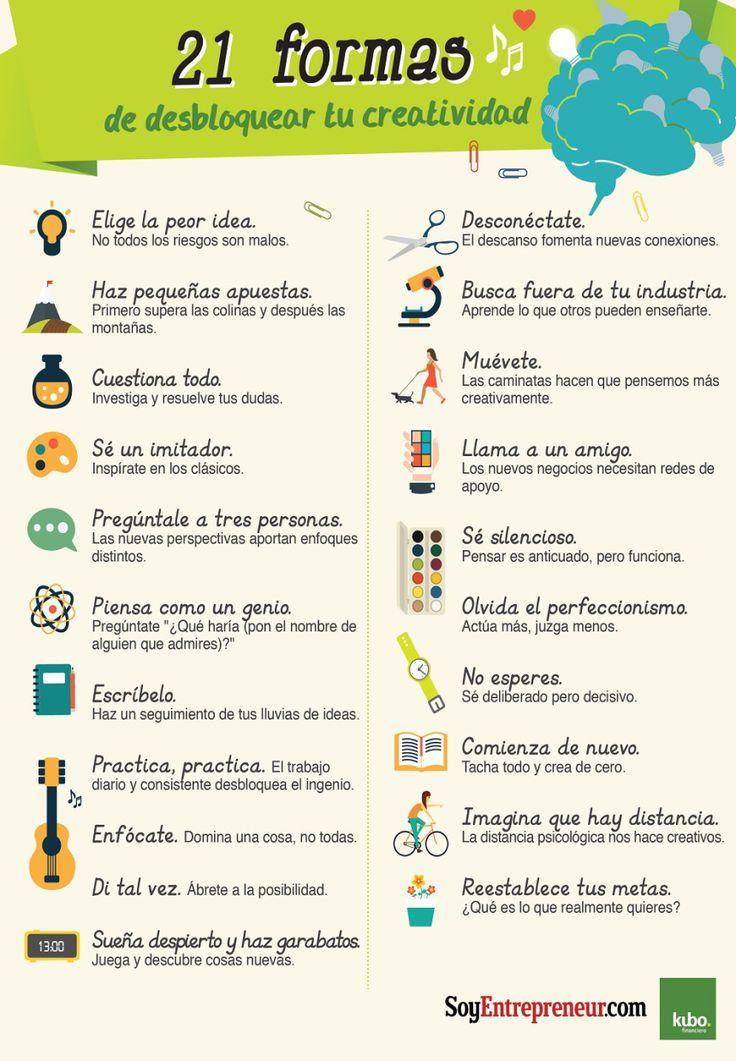 21 formas de desbloquear la Creatividad #infografia #infographic Ideas Desarrollo Personal para www.masymejor.com