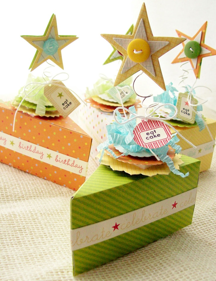 Creative Paper Trail: let them eat cake...  cute cake box favors