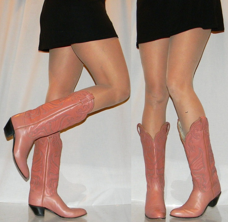 Tony Lama Boots Women | womens 9 A PINK Tony Lama TALL cowgirl boots by thevintagevoice...love the nude pink color