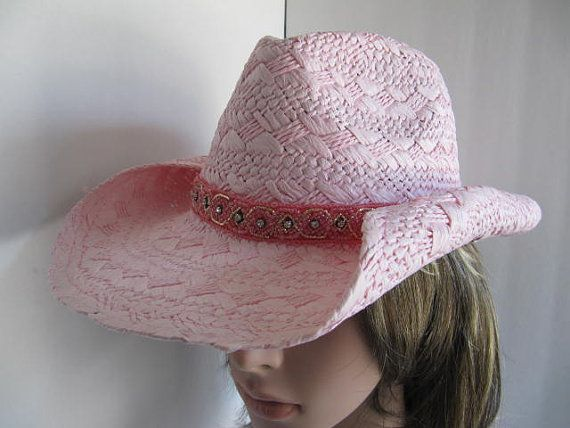 Western Hat, Cowgirl Hat, Hat, Rhinestone Hat, Woman, Bling Hat, Pink Rodeo Hat, Country Hat, Crystals, Country Hat, Straw Hat, Woman on Etsy, $35.00