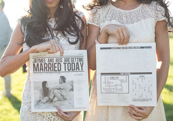 So you can have a creative wedding program inspired by the Sunday paper.
